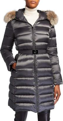 Moncler Tinuv Belted Long Puffer Coat w/ Fur-Trim Hood