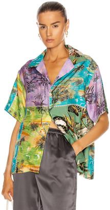 Amiri Hawaiian Patchwork Shirt in Purple / Green | FWRD