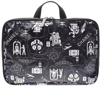 Chanel Black Printed Nylon Airline Travel Bag