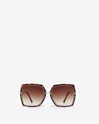 Express Gold Tortoiseshell Square Rim Sunglasses