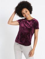 Marks and Spencer Velour Round Neck Short Sleeve T-Shirt