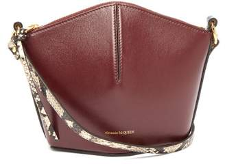 Alexander McQueen The Bucket Mini Leather Cross-body Bag - Womens - Burgundy Multi