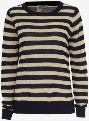 Six Ames - Navy Gold Striped Maquinza Boat Pullover - S - Gold/Blue