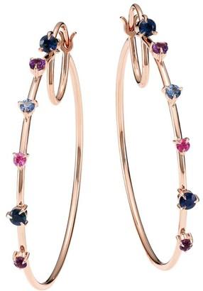 Phillips House 14K Rose Gold Amethyst & Sapphire Hoop Earrings
