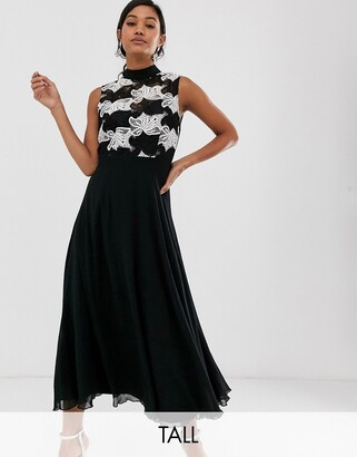 Little Mistress Tall mono detail midi skater dress-Black