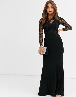 Lipsy lace applique top maxi dress in black