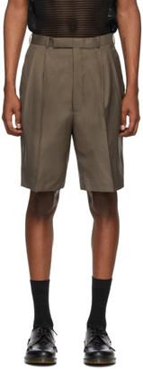 John Lawrence Sullivan Beige Wool Tucked Shorts