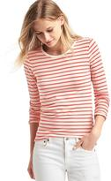 Stripe long sleeve feather tee