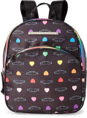 Betsey Johnson Luv Betsey By Black Rainbow Heart Nylon Backpack