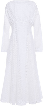 By Malene Birger Flared Gathered Broderie Anglaise Cotton Midi Dress