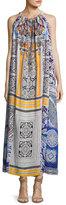 Camilla Printed Silk Crepe Halter Maxi Dress, Multicolor