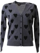 Burberry Black Hearts Grey Wool Cardigan
