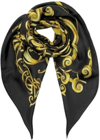 Versace Black and Gold Heritage Barocco Print Twill Silk Square Scarf