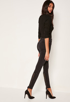 Missguided Black High Waisted Laced Up Skinny Jeans