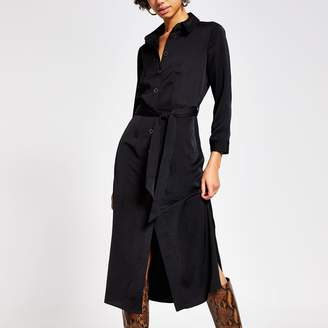 River Island Womens Black tie belted long sleeve midi shirt dress