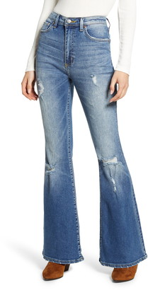 Lee Distressed High Waist Flare Jeans