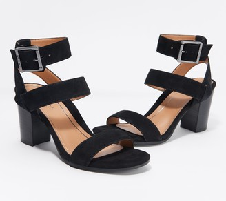 Vionic Suede Ankle Strap Block Heeled Sandals - Sofia