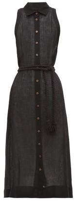 Lisa Marie Fernandez Alison Belted Linen-blend Shirtdress - Womens - Black