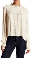 Astr Long Sleeve Embroidered Silk Blend Blouse