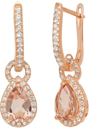 14k Rose Gold Over Silver Simulated Morganite and Lab-Created White Sapphire Halo Teardrop Earrings