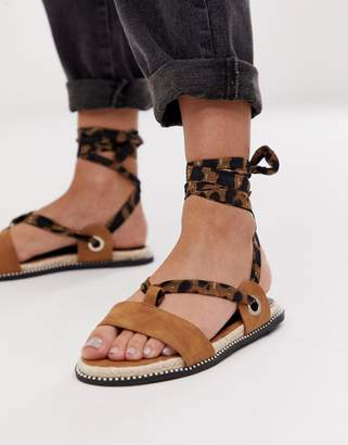 Miss Selfridge flat sandals with leopard ankle ties in tan-Multi
