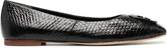 Tory Burch Snakeskin Effect Applique Ballerina Shoes