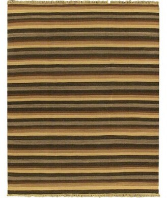 Bay Isle Home Vallejo Handwoven Flatweave Wool Brown/Beige Area Rug