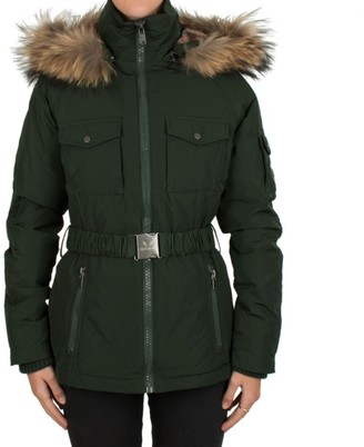 Featuring Green Belted Fur Trim Hooded Parka