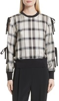 3.1 Phillip Lim Women's Tie Sleeve Check Pullover