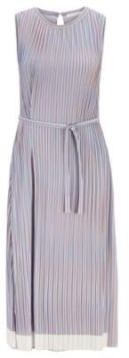 HUGO BOSS Belted Plisse Dress With Color Block Hem - Patterned