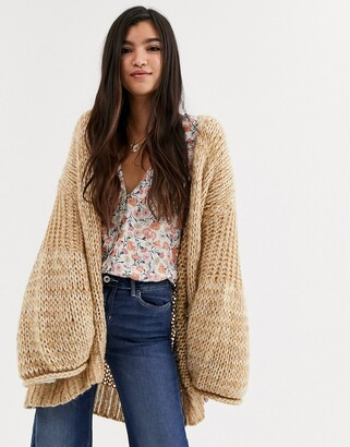 Free People Home Town volume sleeve cardigan-Cream