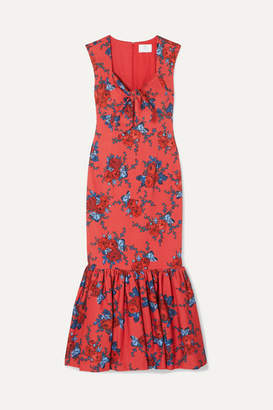 Rebecca De Ravenel Tie-detailed Floral-print Cotton-blend Maxi Dress - Red