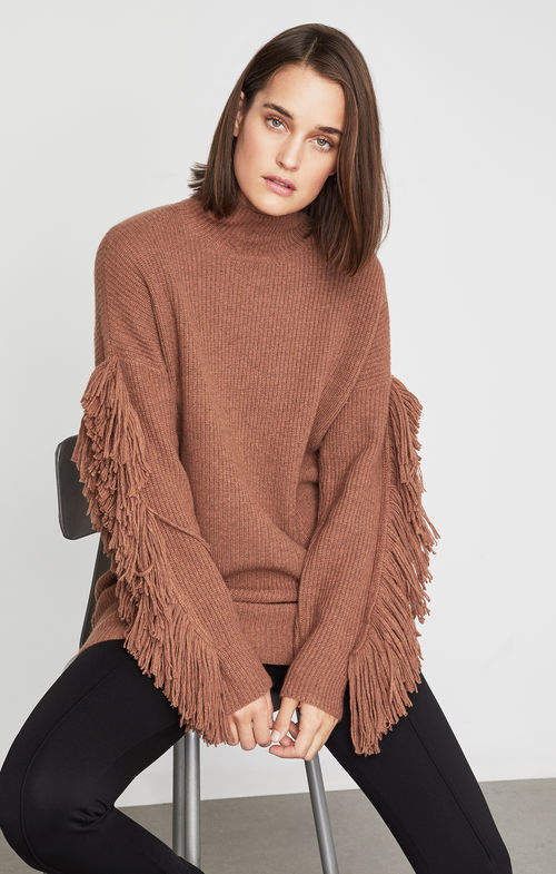 BCBGMAXAZRIA Fringe Turtleneck Tunic Sweater