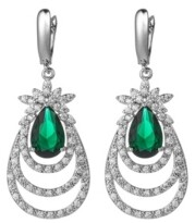 A&M A & M Silver-Tone Emerald Accent Layered Earrings