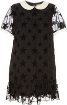 Saint Laurent Flocked-stars contrast-collar babydoll dress