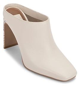 Dolce Vita Women's Kirra Square Toe Angular High Heel Leather Mules