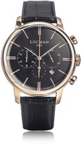 Locman 1960 Rose Gold PVD Stainlees Steel Men's Chronograph Watch w/Black Strap