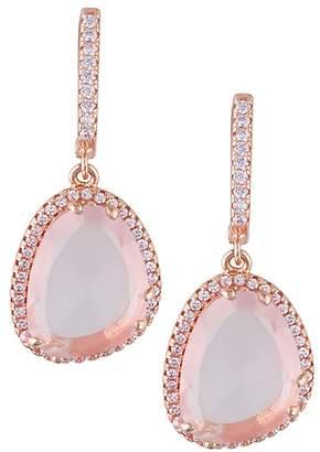Delmar Rose Quartz & White Topaz Dangle Earrings