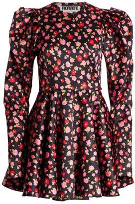 Rotate by Birger Christensen Pauline Puff-Sleeve Satin Mini Dress