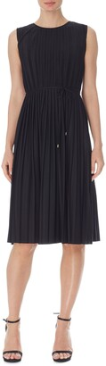 Anne Klein Pleated Tie Waist Sleeveless Dress