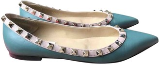 Valentino Rockstud Turquoise Leather Ballet flats