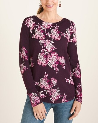 Chico's Floral Bateau-Neck Pullover Sweater