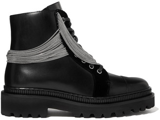 Balmain Ranger Chain-embellished Leather Combat Boots