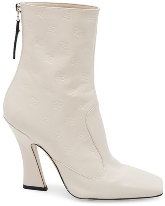 Fendi Karligraphy Embossed Leather Ankle Boots