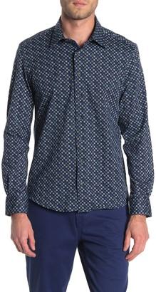 Stone Rose Mens Long Sleeve Geometric Fx Print Shirt