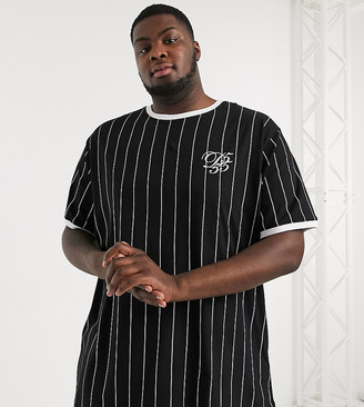 Couture Duke Stripe T-shirt With Curved Hem and Embroidery