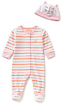 Joules Baby Girls Newborn-9 Months Joy Striped Footed Coverall & Cat Hat Set