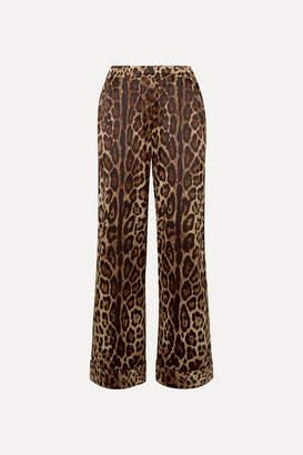Dolce & Gabbana Leopard-print Stretch-silk Satin Wide-leg Pants - Brown