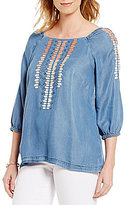 KUT from the Kloth Shaylee Embroidered Denim Peasant Top