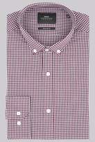 Moss Bros Extra Slim Fit Wine Single Cuff Gingham Button Down Shirt